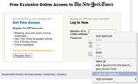 Login page of the NYTimes
