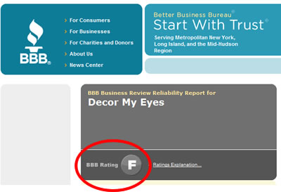 Better Business Bureau page for decormyeyes