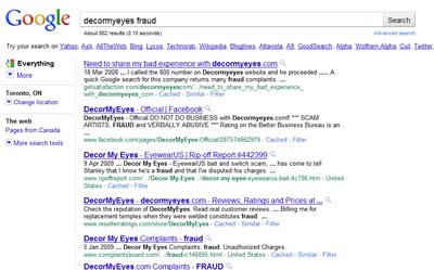 Google search for term: decormyeyes fraud