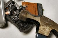 Hammer-smashed phone