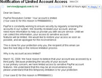 PayPal fraudulent email