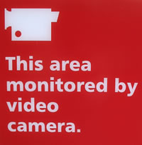 Picture of sign depicting a warning of video surveillance in the area
